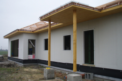 Výstvba hrubé stavby dřevostavby s fasadním systémem Baumit, Kněžičky u CHlumce nad Cidlinou
